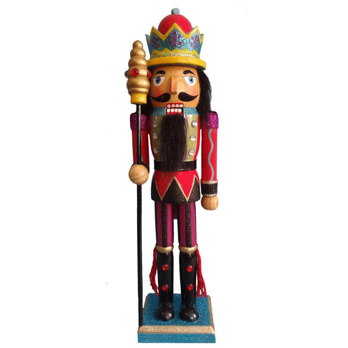 King Nutcracker Black Magenta Glitter Jacket Crown and sceptre 15 inch - Nutcracker Ballet Gifts