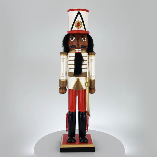 African American Soldier Nutcracker Red White Gold Tall Hat 15 inch - Nutcracker Ballet Gifts