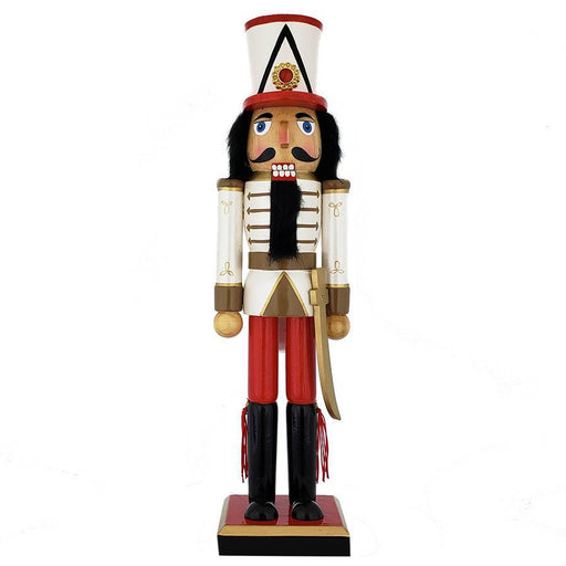 Soldier Nutcracker Pearly White Red Gold Sword and Tall Hat 15 inch - Nutcracker Ballet Gifts