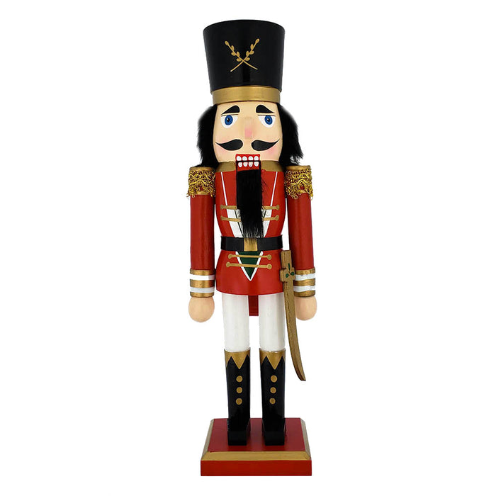 Traditional Soldier Nutcracker Red Gold Trim and Sword 15 inch - Nutcracker Ballet Gifts