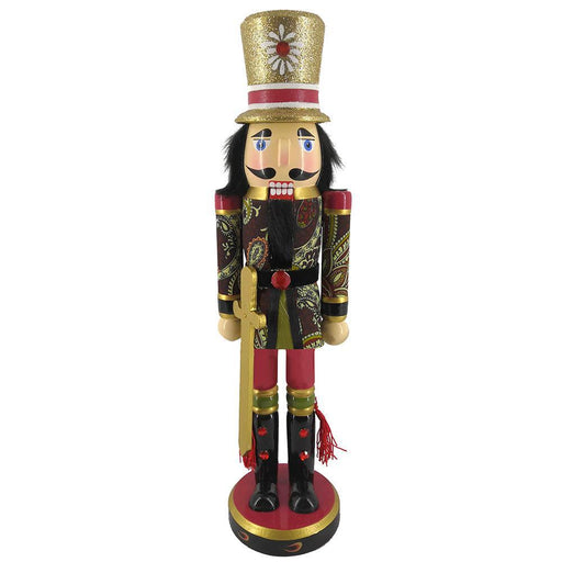 Soldier Nutcracker Paisley Jacket Sword and Top Hat 15 inch - Nutcracker Ballet Gifts