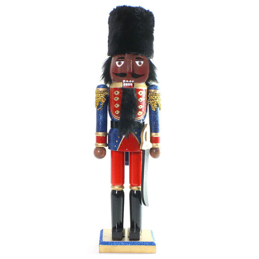 African American Soldier Nutcracker Blue Red Fur Hat 15 inch - Nutcracker Ballet Gifts