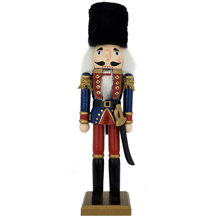 Traditional Soldier Nutcracker Blue Red and Black Fur Hat 15 inch - Nutcracker Ballet Gifts