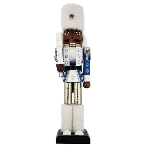 Snow Fantasy African American Soldier Nutcracker White and Blue Fur Hat 15 inch - Nutcracker Ballet Gifts
