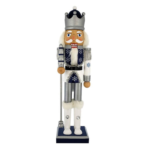 Snow Fantasy King Nutcracker with White Silver Blue Glitter 15 inch - Nutcracker Ballet Gifts