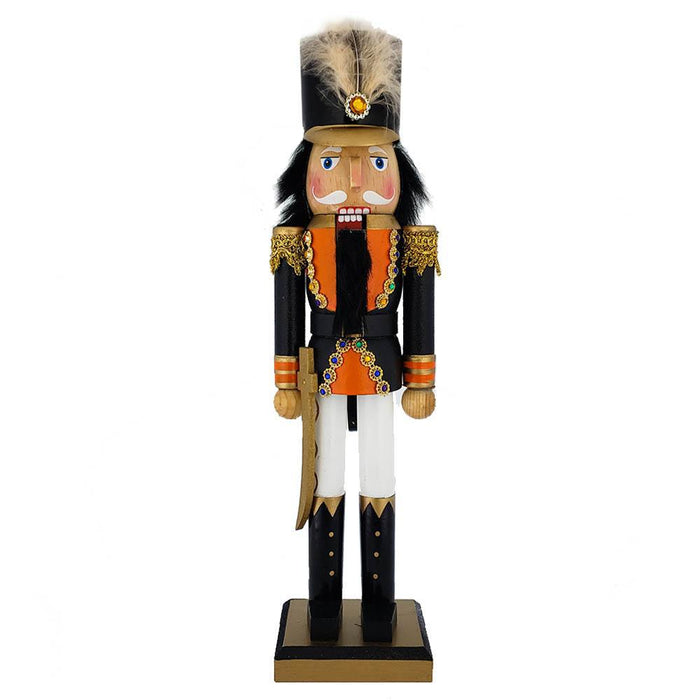 Soldier Nutcracker Orange and Black Jacket and Feather 15 inch - Nutcracker Ballet Gifts