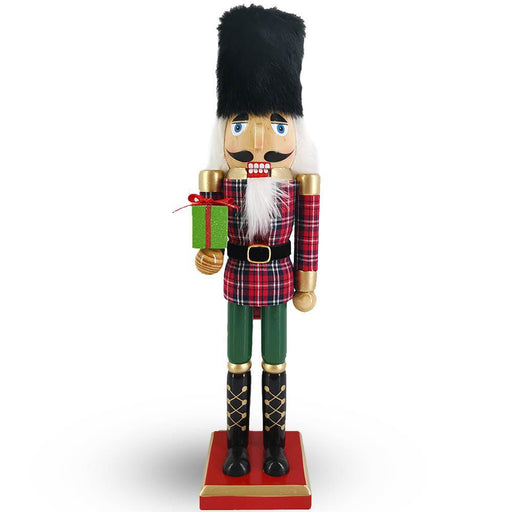 Soldier Nutcracker in Red and Green Plaid with Black Fur Hat 15 inch - Nutcracker Ballet Gifts