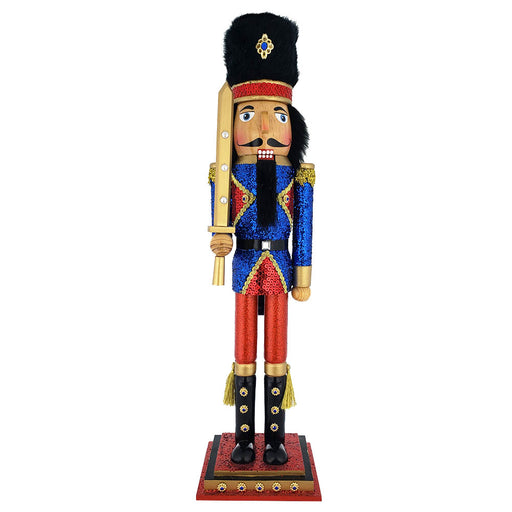 Soldier Nutcracker with Glitter Blue Jacket and Fur Hat 20 inch - Nutcracker Ballet Gifts