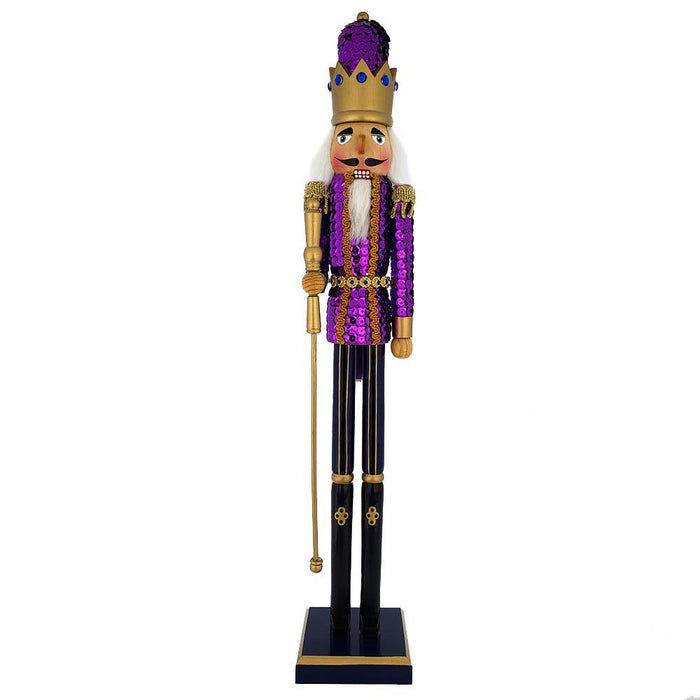 King Sequin Nutcracker Purple Jacket and Gold Crown 20 inch - Nutcracker Ballet Gifts