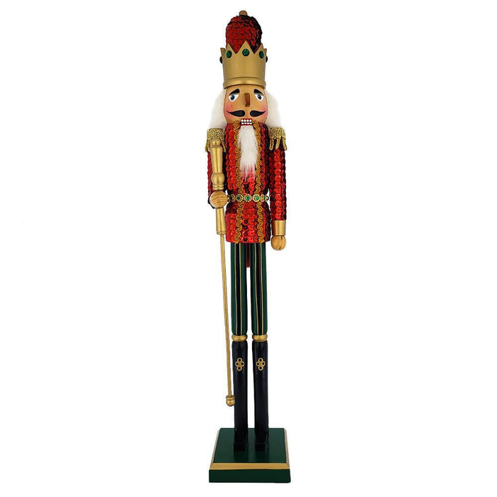 King Sequin Nutcracker Red Jacket and Gold Crown 20 inch - Nutcracker Ballet Gifts