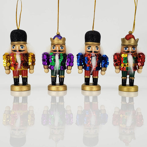 Stubby Sequin Nutcracker Ornament Set of 4 in 4 inch - Nutcracker Ballet Gifts
