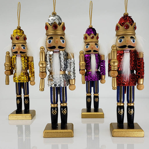 Sequin Nutcracker Ornament Set of 4 Multicolor 8 inch - Nutcracker Ballet Gifts