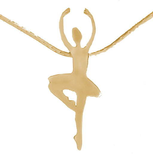 Dancing Ballerina Brass Pendant with Gold Chain Pointe - Nutcracker Ballet Gifts