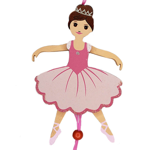 Ballerina Pull Puppet Ornament Brown Hair 6 inch - Nutcracker Ballet Gifts