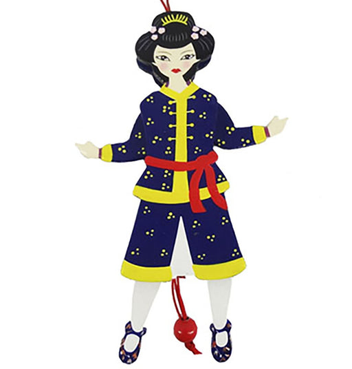 Chinese Land of Sweets Pull Puppet Ornament 6 inch - Nutcracker Ballet Gifts