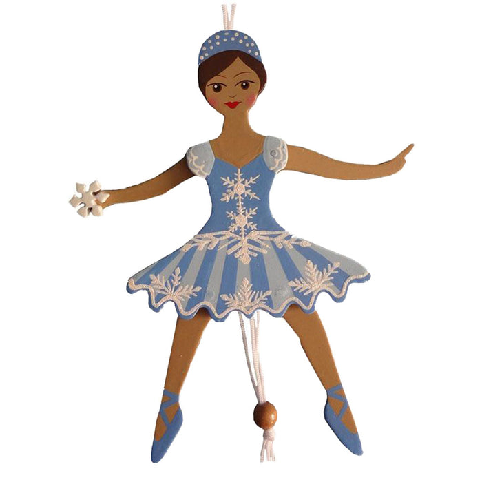 African American Snowflake Dancer Pull Puppet Ornament 6 inch - Nutcracker Ballet Gifts
