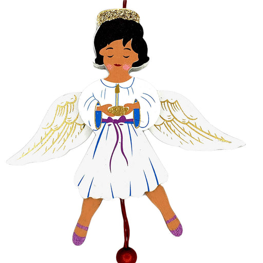 African American Angel Land of Sweets Pull Puppet Ornament 5 and a half inch-Nutcracker Ballet Gifts