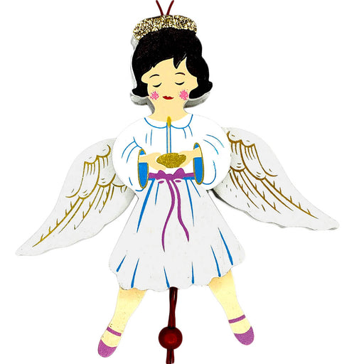 Angel Land of Sweets Pull Puppet Ornament Brown Hair 5 and a half inch-Nutcracker Ballet Gifts