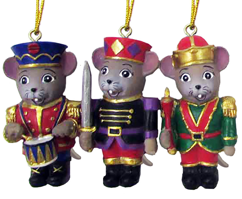 Nutcracker Mouse Ornaments Set of 3 2 inch - Nutcracker Ballet Gifts