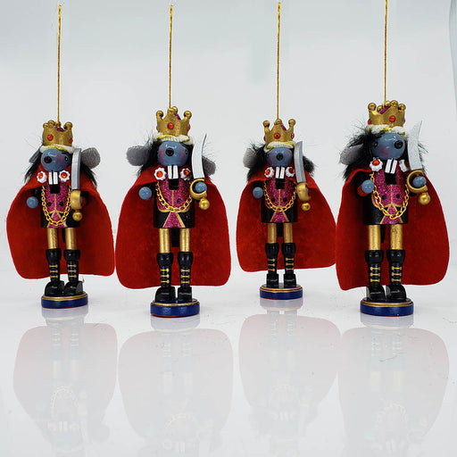 Mouse King Nutcracker Ornament Set of 4 in 6 inch - Nutcracker Ballet Gifts