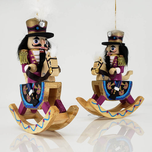 Rocking Horse Nutcracker Ornament Set of 2 in 6 inch - Nutcracker Ballet Gifts