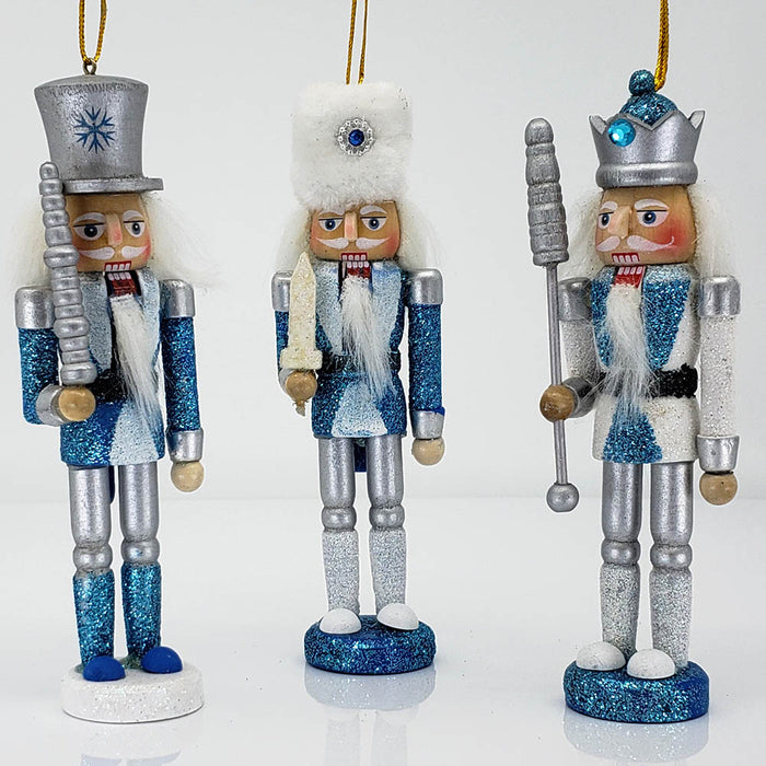 Snow Fantasy Nutcracker Ornament Set of 3 in 5 inch - Nutcracker Ballet Gifts