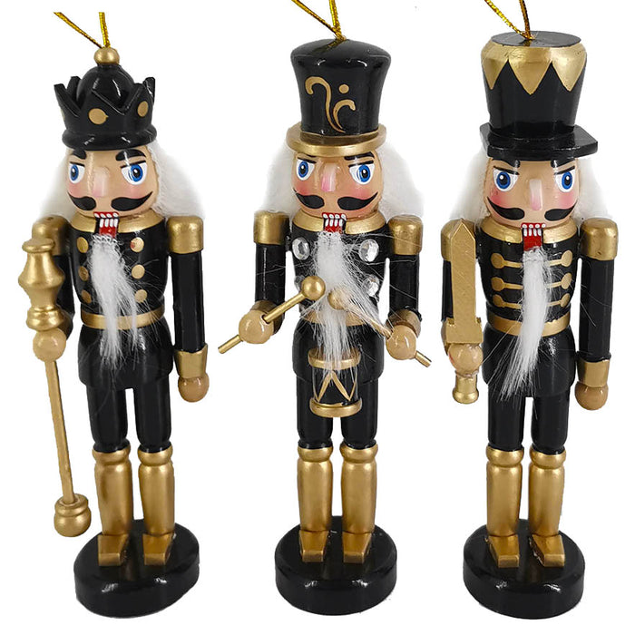 Black and Gold Nutcracker Ornaments set of 3 in 6 inch - Nutcracker Ballet Gifts