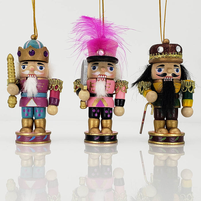 Stubby King and Soldier Ornament Set of 3 in 4 inch - Nutcracker Ballet Gifts