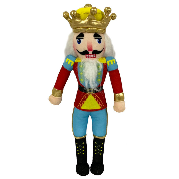 King Plush Nutcracker with Gold and Yellow Crown 14 inch - Nutcracker Ballet Gifts