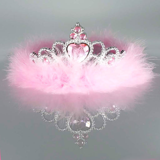 Fluffy Pink Feather Sparkling Rhinestones Regal Tiara - Nutcracker Ballet Gifts