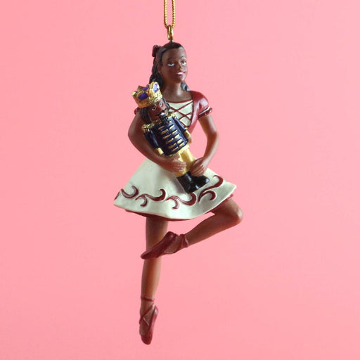 African American Clara on Pointe with Nutcracker Ornament 4 inch - Nutcracker Ballet Gifts