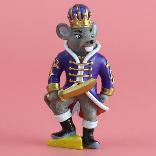Mouse King on Cheese Resin Ornament with Sword 4 inch - Nutcracker Ballet Gifts