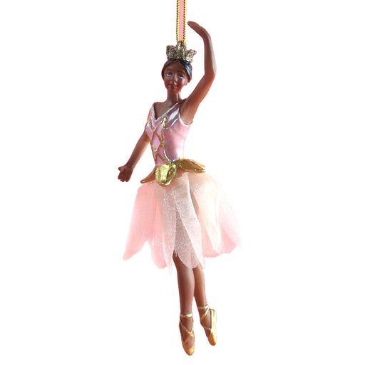 African American Rose Gold Ballerina with Tutu Ornament 4 inch - Nutcracker Ballet Gifts