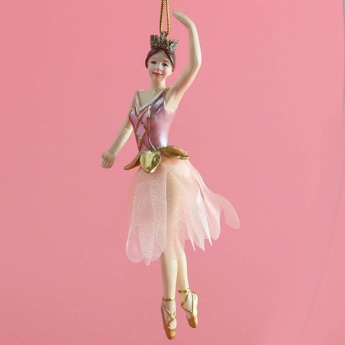 Rose Gold Ballerina with Fabric Tutu Resin Ornament 4 inch - Nutcracker Ballet Gifts