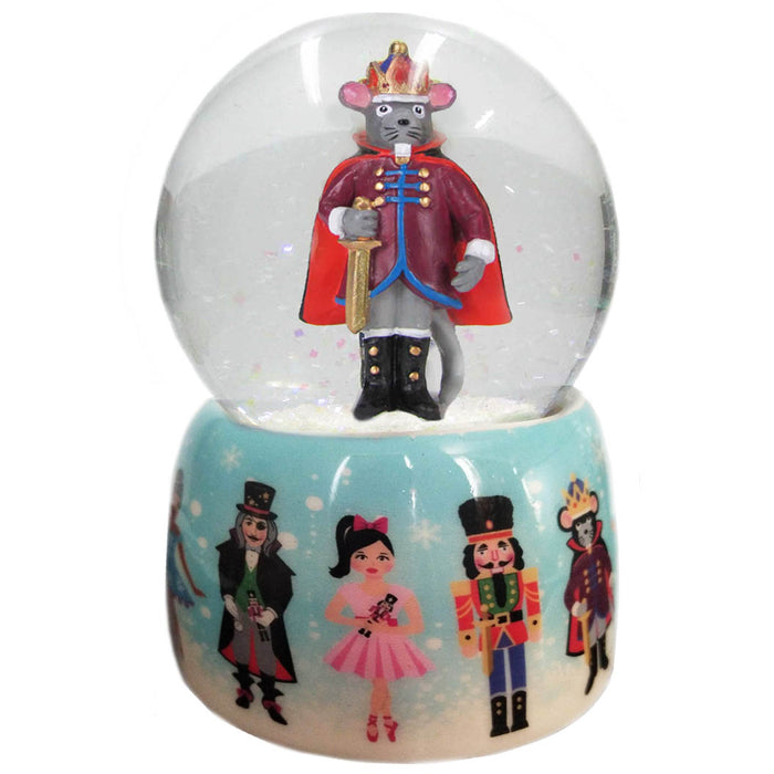 Musical Mouse King and Nutcracker Snow Globe Ceramic 65mm - Nutcracker Ballet Gifts