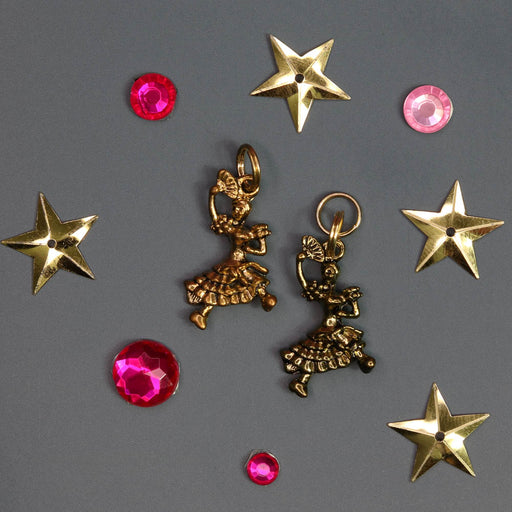 Spanish Chocolate Dancer with Fan Charm in Silver or Gold for Bracelet - Nutcracker Ballet Gifts