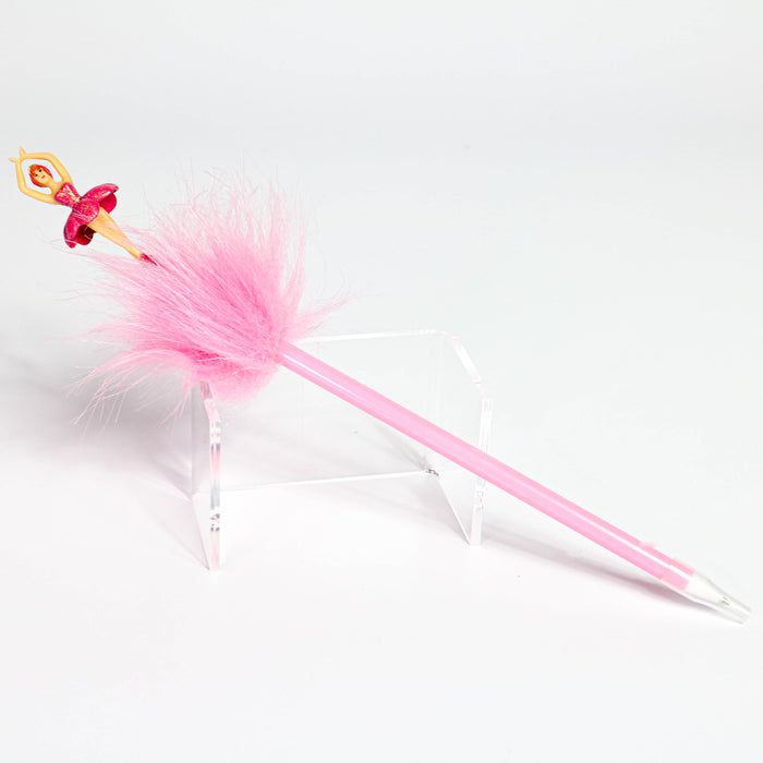Ballerina with tutu Pink Furry Ball Pen - Nutcracker Ballet Gifts