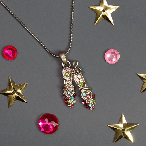 Silver Ballet Slippers with Multi Colored Rhinestones Necklace - Nutcracker Ballet Gifts