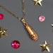 Gold Ballet Slipper Pendant with Pink Rhinestones Necklace - Nutcracker Ballet Gifts