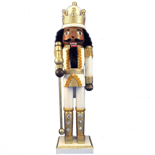 African American King Nutcracker Gold White Glitter and Crown 15 inch - Nutcracker Ballet Gifts