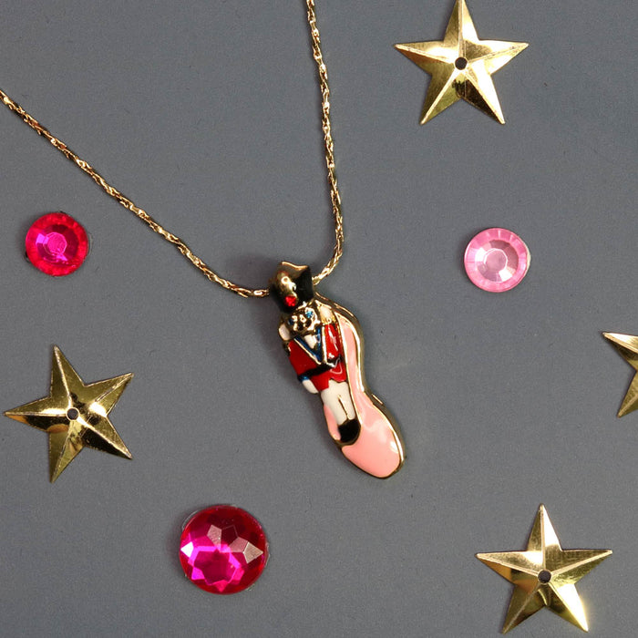 Nutcracker with Red Jacket in Pink Ballet Slipper Necklace - Nutcracker Ballet Gifts