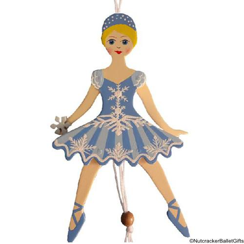 Snowflake Dancer Pull Puppet Ornament Blonde Hair 6 inch - Nutcracker Ballet Gifts