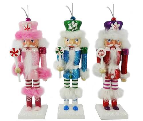 Cotton Candy Cane Nutcracker Ornament set of 3 in 6 inch - Nutcracker Ballet Gifts