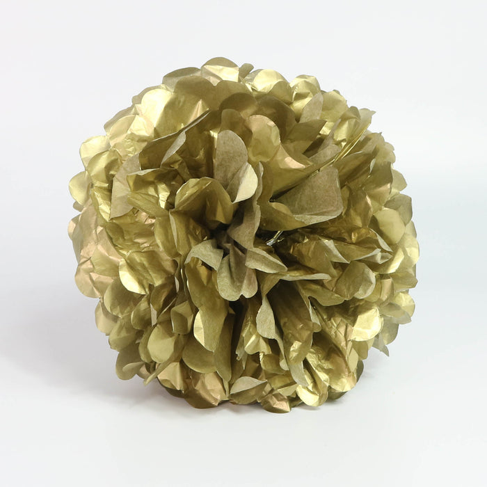 Tissue Pom-Pom 12 Inch Fancy Gold 4 pack - Nutcracker Ballet Gifts