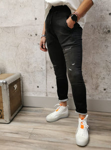 Zhrill Stretch Denim Joggers - Black