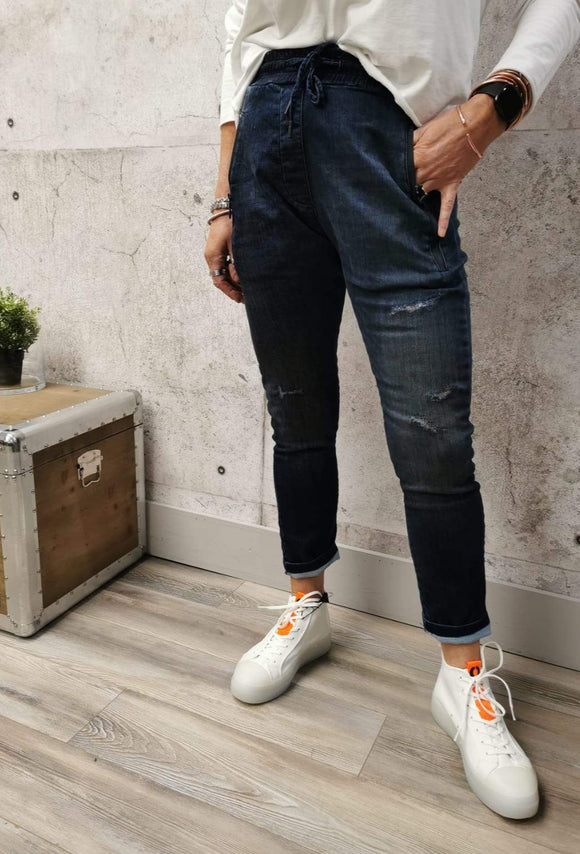 Zhrill Stretch Denim Joggers - Blue