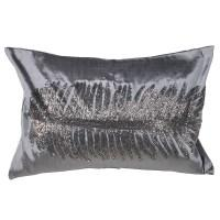 Love Layers Home Grey Velvet Leaf Cushion Cover ATZ013