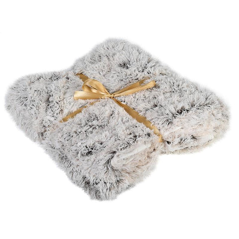 Love Layers Home Grey and White Furry Throw