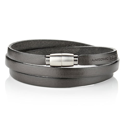 OFM Bracelet - Only For Men Italian Leather Bracelet Silver details on clasp