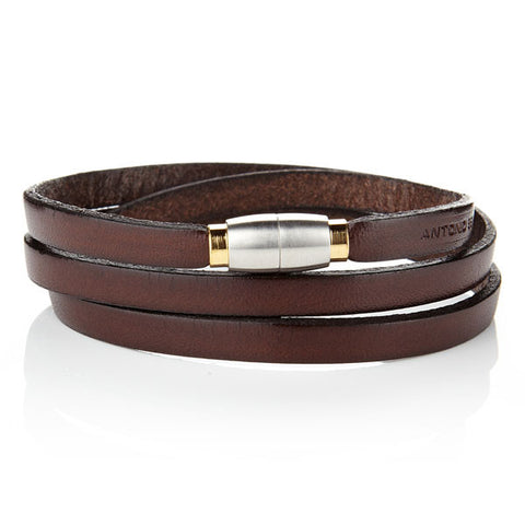 OFM Bracelet [Gold Clasp] Only For Men Italian Leather Bracelet